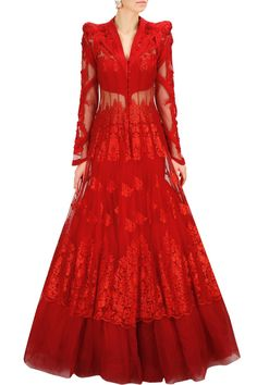 Gaurav Gupta presents Red embroidered lace jacket with net flared lehenga available only at Pernia's Pop-Up Shop. Indian Lehenga, Indian Gowns, Indian Attire, Pakistani Dresses, Indian Bridal Fashion, Indian Wedding Outfits, Indian Outfits, Salwar Kameez, Western Dresses Online