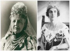 Queen Sophia (left), Queen Louise (right), both wearing the Nine Prong Tiara