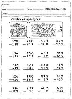 Atividades de matemática para os alunos do 3° ano do ensino fundamental, adição e subtração. AsAtividades apresentam propostas tradicionais que complementam – revisam e sistematizam os conteúdos estudados, podemser usadas como atividades complementares em sala de aula ou enviadas como lição de casa, favorecendo a correção. Atividades selecionadas com o objetivodefacilitar o planejamento das aulas, … 3rd Grade Math Worksheets, Printable Math Worksheets, Math Sheets, English Phonics, Coloring Tutorial, Math Addition, Math Class, Math For Kids, Kids Education