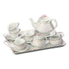 Porcelain Tea Sets | PINSTRIPE PINK Child's 18 Pc Porcelain Tea Set Andrea by Sadek 19514