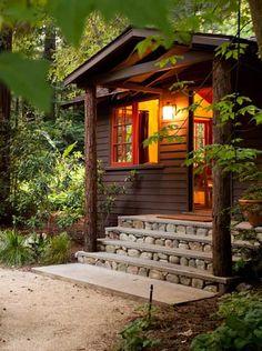 Beautiful cabin steps.
