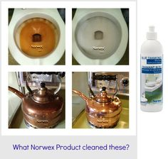 What Norwex Product cleaned these surfaces? 1. Rust stains in a Toilet. 2. Dirty Copper Kettle.