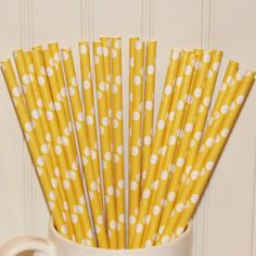 Paper Straws  Set of 25  Dots White on Yellow by alisamariedesigns, $4.25