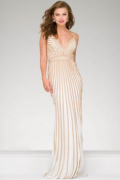 Buy the Embellished Long Jersey Prom Dress 45898 by Jovani at CoutureCandy.com, shop Jovani 45898 now for attractive discounts.