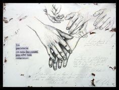 """PACIENCIA Grafito, lápiz de color y collage sobre tabla preparada. 30x40 Obra de la serie """"7 Virtudes"""" del proyecto SEPTIES SEPTEM."""
