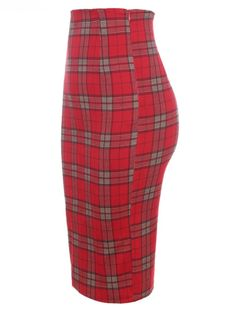 Classic Red Plaid High Waist Midi Pencil Skirt