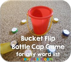 Bucket Flip Bottle Cap Center Game$ - Players have their own colored caps (print color) in which they read before playing. Players take turns to scoop and flip their lid into the bucket in the center. The person with the most caps in the bucket once all the caps are gone is the winner.