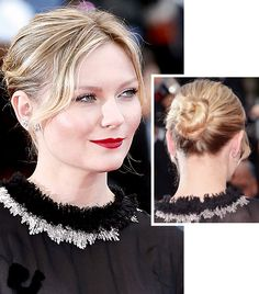 Kirsten Dunst's red lips and low bun is the perfect look for a last-minute party.