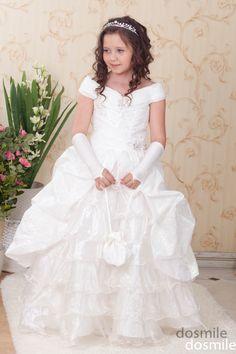 Cap The Sleeves White Princess Flower Girl Dresses,