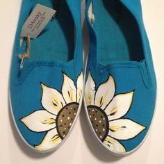"""Hand Painted """"Flower"""" Canvas Shoes on Etsy, $23.16"""