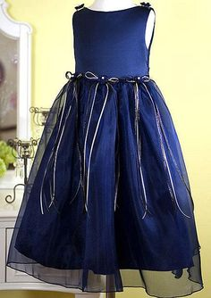 Girls Navy Blue Dress with ribbons