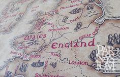 Fantasy Map of British Isles, UK, Ireland