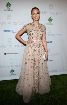 Jessica Alba: Valentino gown, Harry Winston jewels & Roger Vivier clutch ~ 1st annual Baby2Baby Gala
