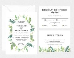 wedding invitation printable botanical DIY by bonjourpapershop