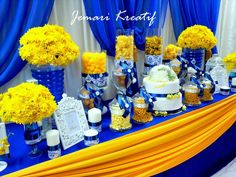 Wedding Decorations For Tables In Light Blue And Yellow Ceiling - jemari kreatif design: cand. Wedding Decorations For Tables In Light Blue And Yellow Ceiling - jemari kreatif design: candy buffet - royal blue and mustard yellow<br> Mustard Yellow Wedding, Blue Yellow Weddings, Yellow Wedding Colors, Yellow Theme, Silver Wedding Decorations, Wedding Themes, Wedding Ideas, Candy Table, Candy Buffet