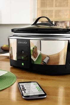 Crock-Pot Smart Wifi-Enabled WeMo 6-Quart Slow Cooker | Adjust cooking time, temperature, shift to warm or turn off using the Free WeMo App from your smart device.