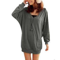 Allegra K Ladies V Neck Dolman Sleeve Elastic Hem Hoodie Textured Loose Hoodie http://www.amazon.com/exec/obidos/ASIN/B00D840DPW/hpb2-20/ASIN/B00D840DPW I am very satisfied with this hoodie! - I wear it with yoga pant, leggings, or skinny jeans and looks great any way. - First the fabric is very soft, and comfy.