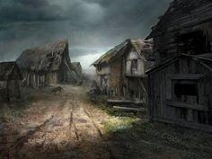 Ravaged village (concept-art for Reign of Guilds) by Lucy-Lisett on DeviantArt Fantasy Village, Fantasy Town, Medieval Fantasy, Fantasy World, Dark Fantasy, Fantasy Art Landscapes, Fantasy Landscape, Viking Village, Fantasy Background