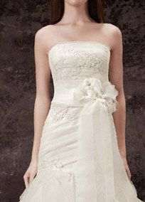 4cdc54b810ca Personalize your bridal look with this White by Vera Wang Garza sash. Garza  sash with lace appliques and laser-cut three-dimensional beaded floral ...