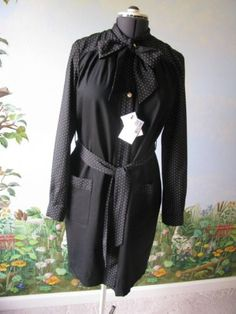 Love-Moschino-Black-Long-Sleeve-Dress-Pearl-Buttons-Size-12-NWT-500