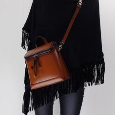 Genuine Leather backpack shoulder bag messenger bag for women leather crossbody bag 14065 - LISABAG - 4 Leather Crossbody Bag, Leather Backpack, Stylish Backpacks, Summer Outfits, Summer Clothes, Red Leather, Black And Brown, Vintage Ladies, Vintage Fashion