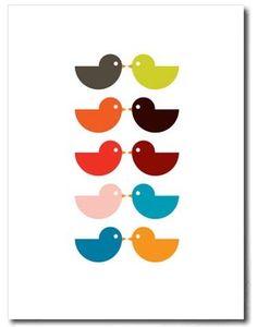 super cute contemporary folk art bird print great wall art for interiors