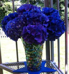 Hydrangea Bouquet...these are the bluest hydrangeas I've EVER seen!