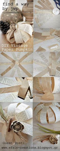 Ef Zin Creations: DIY Vintage Paper Pumpkin