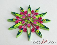 Paper Quilling Snowflake Ornament in White by NavankaCreations