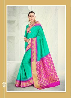 Dilettante Banarasi Silk Sea Green Patch Border Work Designer Saree