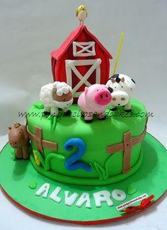 Tarta de cumpleaños infantil, La granja de Alvaro!!!