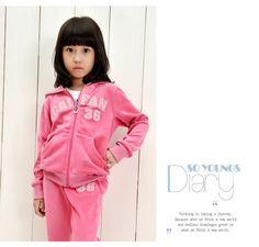 Winter Velvet Girl's Clothing Set, Letters Print Girl's Jacket+Girl's long pants, Hooded Shirt,Hi Quality Free Shipping K0177