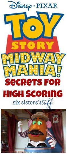 Toy Story Midway Mania Secrets on SixSistersStuff.com | We love the Toy Story… Walt Disney World Orlando, Disney World Secrets, Disneyland Secrets, Disneyland Vacation, Disneyland California, Disney World Tips And Tricks, Disney Tips, Disney Fun, Disneyland Hacks