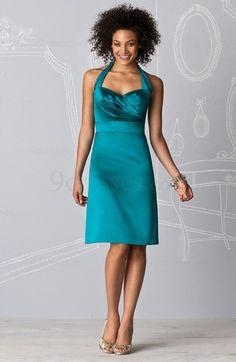 Plain Sleeveless Elastic Woven Satin Zipper Halter Knee Length Bridesmaid Dress