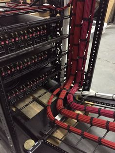 Close up showing back of power amplifiers with network and speaker cabling in progress. Structured Wiring, Structured Cabling, Network Rack, It Network, Wire Management, Cable Management, Data Center Rack, Data Center Design, Network Organization
