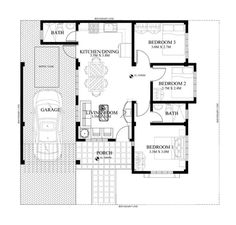 Small Bungalow House Design And Floor Plan With Bungalow Floor Plans, Home Design Floor Plans, House Floor Plans, Dream House Plans, Modern House Plans, Small House Plans, Bungalow Haus Design, Small Bungalow, Small House Design