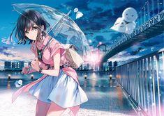 The Umbrella Girl [Original] Manga Kawaii, Manga Anime Girl, Anime Girl Drawings, Anime Artwork, Kawaii Anime Girl, Anime Chibi, Anime Girls, Kawaii Art, Anime Wolf