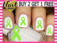 60 Nail Decals - Lime Green Awareness Ribbon by NailGlamsNailDecals on Etsy