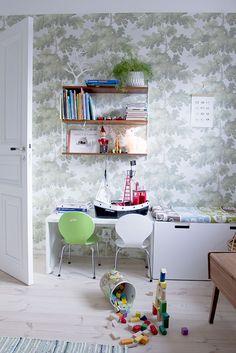 Wallpaper Raphael | Sandberg Wallpaper Kids Decor, Home Decor, Kids Room, Wallpapers, Decorating, Space, Table, Furniture, Games