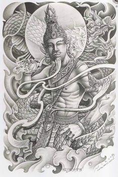 Khmer Tattoo, Thai Tattoo, Asian Tattoos, Back Tattoos, Southeast Asian Arts, Sak Yant Tattoo, Angel Tattoo Designs, Vampires And Werewolves, Thai Style
