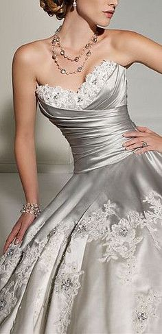 gorgeous silver satin & lace wedding gown