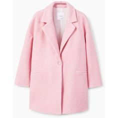 Unstructured Wool-Blend Coat ($94) ❤ liked on Polyvore featuring outerwear, coats, mango coats, pink coat, wool blend coat, oversized coat and fur-lined coats