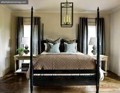 bedroom-black-four-poster-bed-decorating-