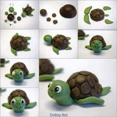 Creative Ideas – DIY Cute Fondant Turtle Cake Topping - Easy Crafts for All Fondant Animals, Clay Animals, Play Doh Animals, Polymer Clay Projects, Diy Clay, Decors Pate A Sucre, Fondant Cake Toppers, Cupcake Toppers, Fondant Cupcakes