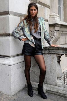 London Fashion Week spring/summer 2013 street style.  Silver jacket with gray shirt and black on bottom.  Gotta' try this!