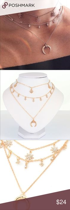 Triple layer horn and stars goldtone necklace NWOT Crystal embellished 14-16 inches Jewelry Necklaces