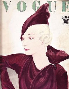 Vogue, September 1, 1933 cover | Model wearing Maria Guy beret and Lucien Lelong dress illustrated by J. Pages