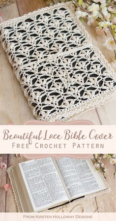 Free Crochet Pattern – Lace Bible Book Cover Crochet a beautiful Bible cover for Easter with this free pattern. Features a delicate lily flower stitch that is perfect for spring. This cover can also fit on journals or other books. Holiday Crochet Patterns, Lace Patterns, Knitting Patterns, Crochet Book Cover, Crochet Books, Crochet Gratis, Free Crochet, Crochet Lace, Crochet Bookmarks