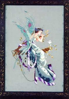Midsummer Night's Fairy - Mirabilia Cross Stitch Pattern. Model stitched over 2 threads on 32 ct Stoney Point linen using DMC floss, Mill Hill Beads, Kreinik Me