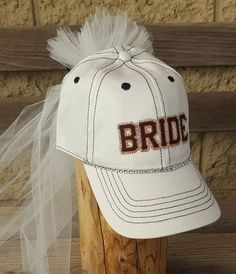 0928120ae9e Bride Baseball Hat with veil for Baseball game Bachelorette Party